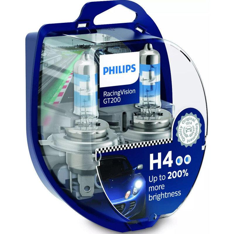 Philips Racing Vision GT200 H4 pærer +200% mere lys ( 2 stk) Philips Racing Vision GT200