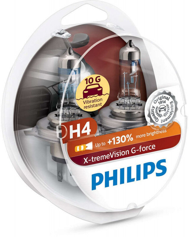 Philips H4 X-tremeVision G-force pærer +130% mere lys ( 2 stk) Philips Xtreme Vision G-force +130%