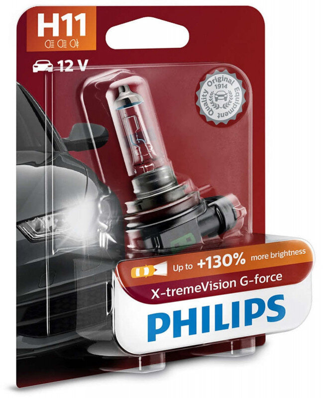 Philips H11 X-tremeVision G-force pærer +130% mere lys ( 1 stk) Philips Xtreme Vision G-force +130%