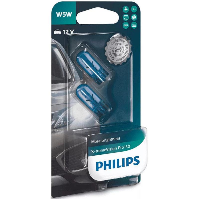 Philips X-Treme Vision Pro150 W5W pærer +150% mere lys (2 stk) Philips Xtreme Vision Pro +150%