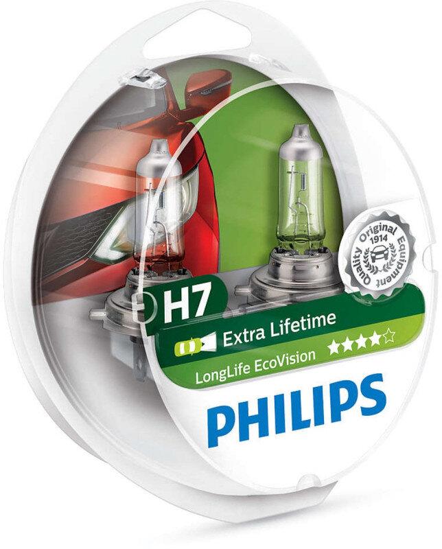 Philips H7 Longlife EcoVision pærer (2 stk. pak) op til 4x længere levetid Philips LongLife EcoVision x4