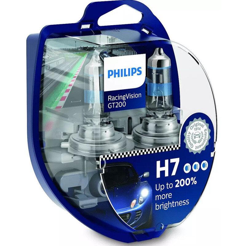 Philips Racing Vision GT200 H7 pærer +200% mere lys ( 2 stk) Philips Racing Vision GT200