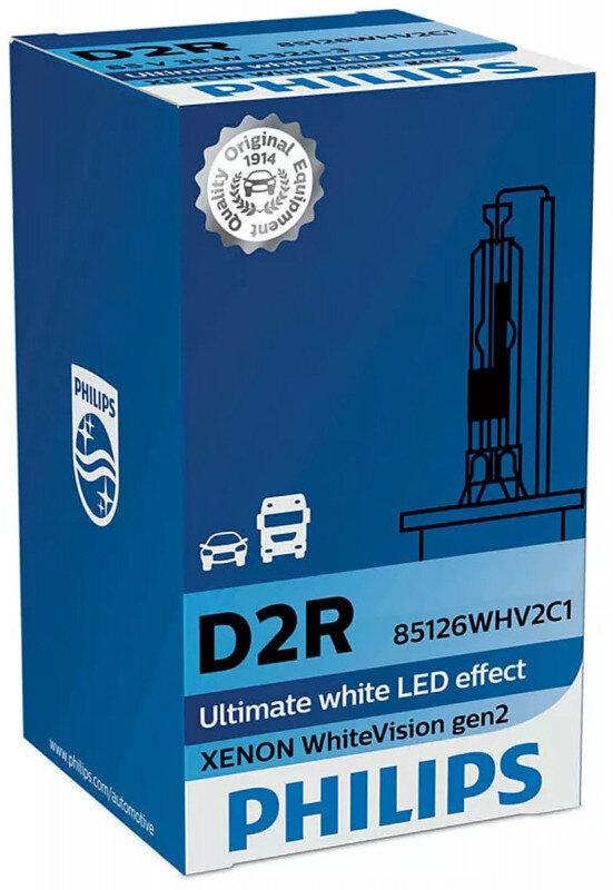 Philips D2R WhiteVision gen2 Xenonpære med +20% mere lys (1 stk) Xenon Pærer