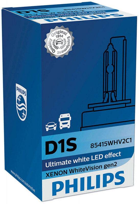 Philips D1S WhiteVision gen2 Xenonpære med +20% mere lys (1 stk) Xenon Pærer