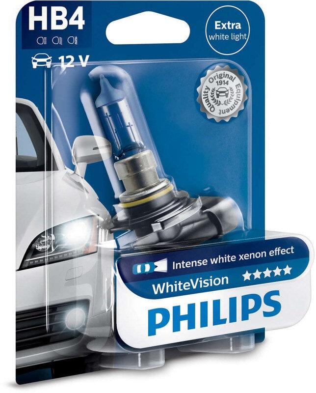Philips White Vision HB4 pære med Xenon effekt & +60% mere lys (1 stk) Philips White Vision +60% mere lys