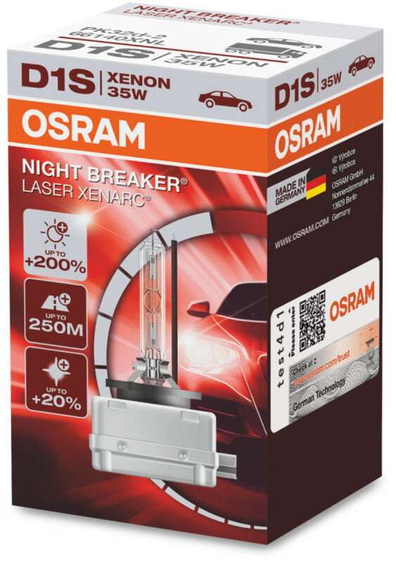 Osram D1S Night Breaker Laser Xenon pære med +200% mere lys (1 stk) Xenon Pærer