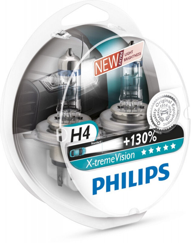 Philips H4 Xtreme Vision pærer +130% mere lys ( 2 stk) Philips Xtreme Vision +130%