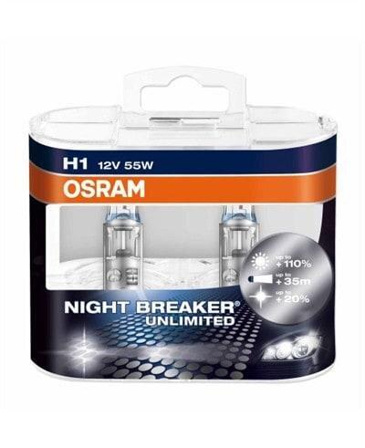 Osram Night Breaker Unlimited H1 pærer +110% mere lys (2 stk) pakke Osram Night Breaker Unlimited +110%
